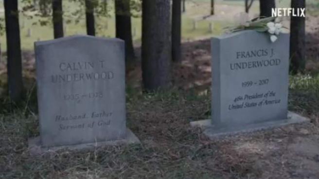 Tumba de Frank Underwood, personaje de 'House of Cards' interpretado por Kevin Spacey.