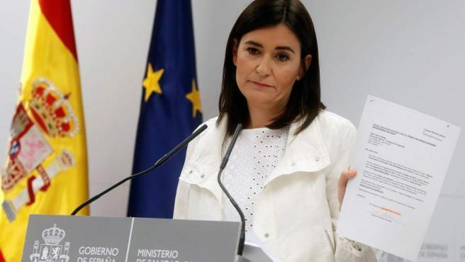 La ministra de Sanidad, Carmen Montón, da explicaciones sobre su presunto máster irregular.