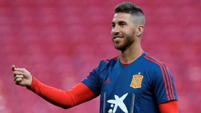Sergio Ramos, en un entrenamiento con la Selección española.