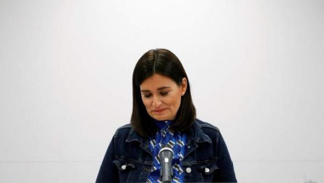 La ministra de Sanidad, Carmen Montón, en rueda de prensa ofrecida hoy en la sede del Ministerio en la que ha informado sobre su dimisión.