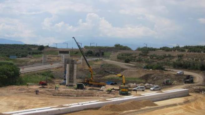 Foto de archivo de las obras del viaducto