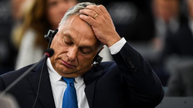 El primer ministro de Hungría, Viktor Orbán, durante el pleno en el Parlamento Europeo en Estrasburgo.