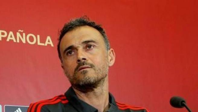 Luis Enrique, en una rueda de prensa con la Selección española.