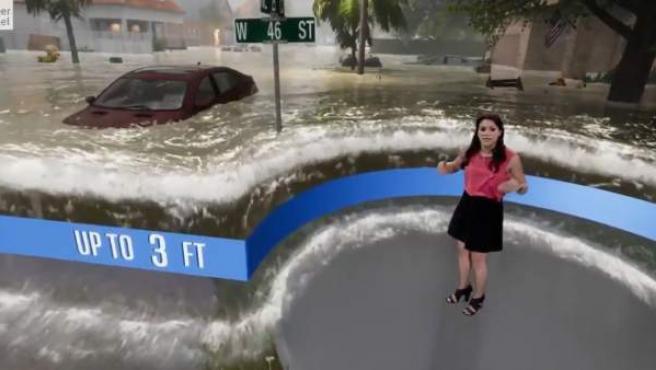 Recreación de los efectos del Florence en The Weather Channel.