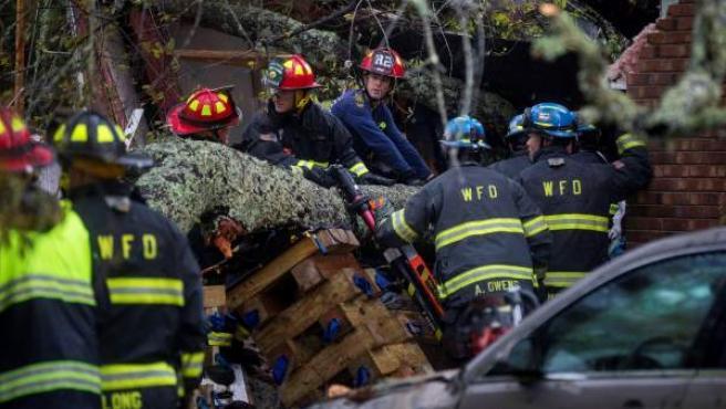 Equipos de rescate retiran un árbol que ha caído en una vivienda en Wilmington.