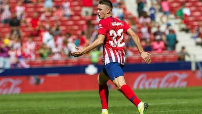 El canterano del Atlético de Madrid Borja Garcés celebra su gol ante el Eibar.