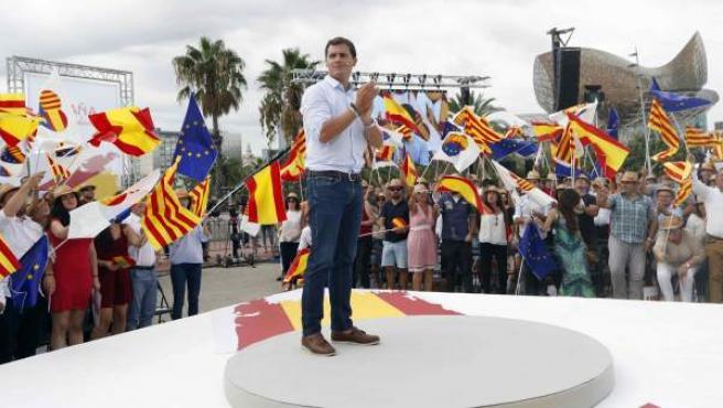 El presidente de Ciudadanos, Albert Rivera, en un acto este sábado en Barcelona.