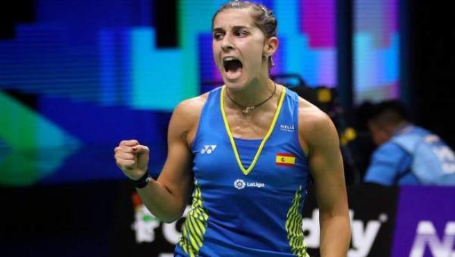 Carolina Marín celebra un punto en la final del Mundial