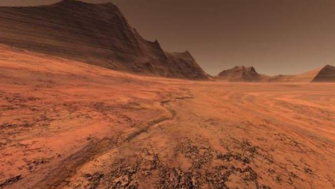 Imagen de una de las llanuras infinitas del planeta Marte.