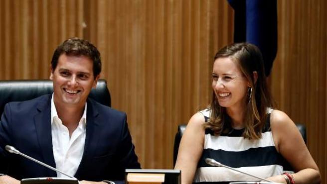 Albert Rivera y Melisa Rodríguez, en el Congreso.