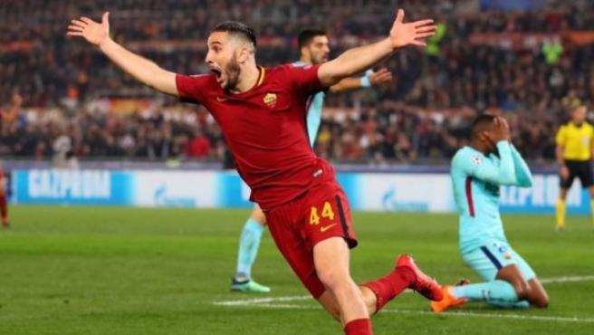 Kostas Manolas celebra su gol que eliminaba al Barcelona de la Champions.
