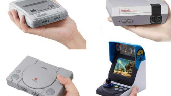 Versiones mini de las consolas Super Nintendo, NES, PlayStation y Neo Geo.