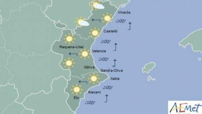 Predicción de Aemet para la Comunitat Valenciana del 23 de septiembre de 2018