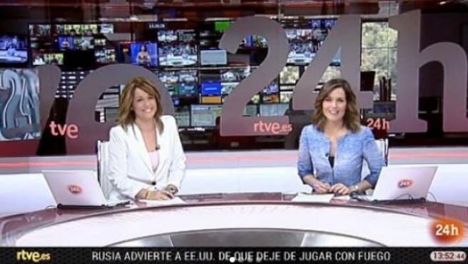 Marta Solano y Raquel Martínez, presentadoras del Canal 24 Horas de TVE.