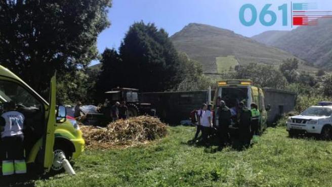 Lugar donde el hombre ha tenido el accidente con el tractor