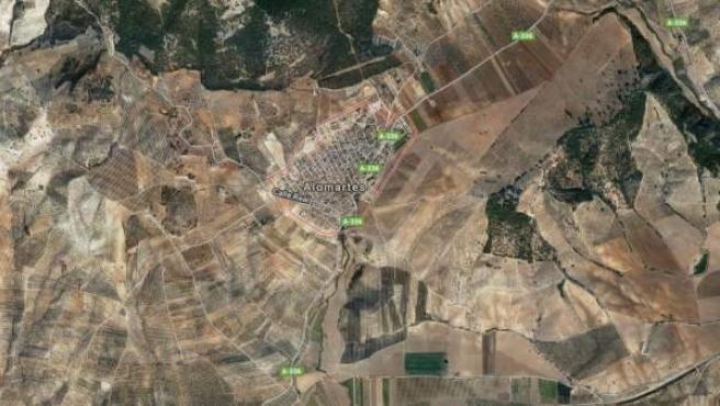 Imagen vía satélite de la localidad granadina de Alomartes.