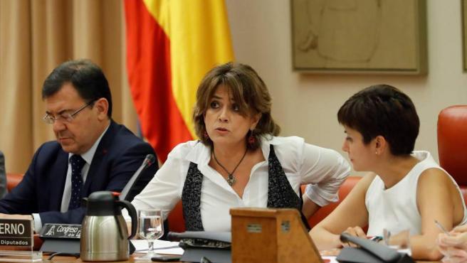 La ministra de Justicia, Dolores Delgado, durante su comparecencia ante la Comisión de Justicia del Congreso.
