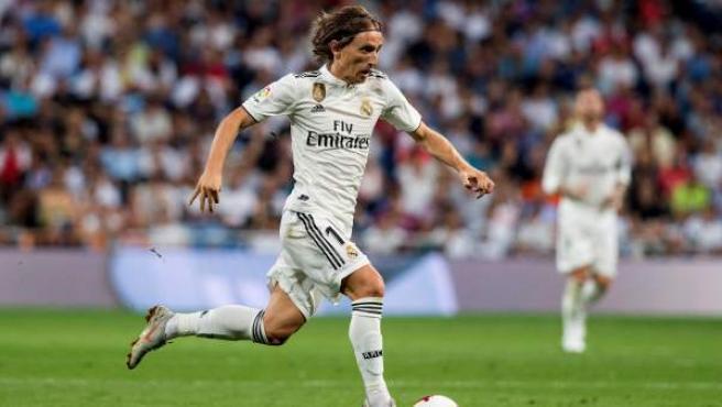 Luka Modric, durante un partido del Real Madrid en la Liga 2018/19.