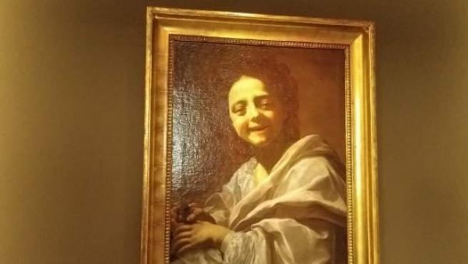 La obra 'Retrato de niña con paloma', de Voaute, en el Museo del Prado.