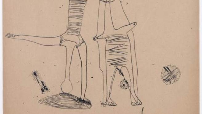 Benjamín Palencia. Mirando el paisaje, 1930. Dibujo a tinta sobre papel. 30 x 24cm. Una de las obras que puede verse en la exposición de la galería Leandro Navarro.