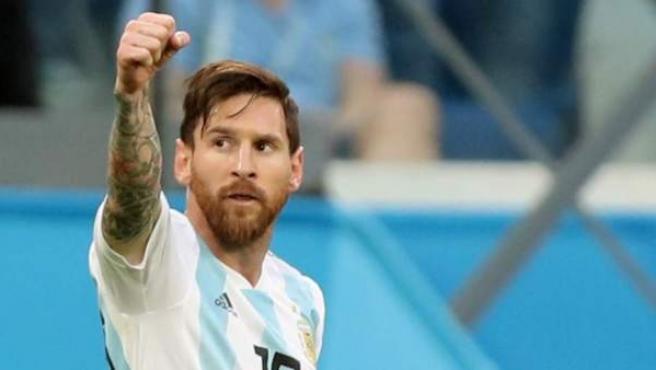 Leo Messi, tras marcar un gol en el partido entre Argentina y Nigeria, en el Mundial de Rusia 2018.
