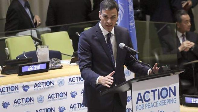 El presidente del Gobierno, Pedro Sánchez, interviene en una reunión de alto nivel sobre acción para el mantenimiento de la paz, organizada en la sede de Naciones Unidas, en Nueva York (EE UU).