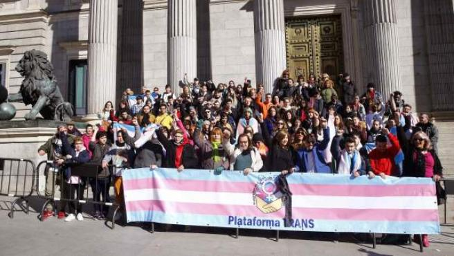 Miembros de la plataforma trans se manifiestan a las puertas del Congreso de los Diputados.