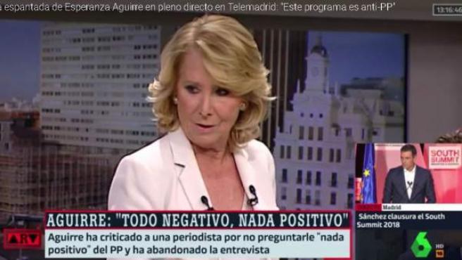 Esperanza Aguirre se va de un programa de Telemadrid.