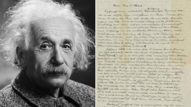 Combo de imágenes de Albert Einstein y la denominada 'Carta de Dios' escrita por el físico alemán.