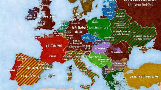 """Mapa que recoge cómo se dice """"Te quiero"""" en los diferentes idiomas de Europa."""