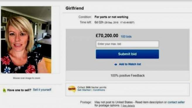 Anuncio de eBay en el que un hombre pone a la venta a su pareja como parte de una broma.