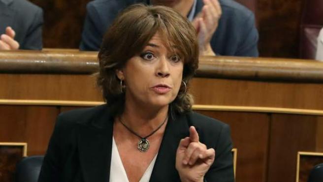La ministra de Justicia, Dolores Delgado, durante una intervención en la sesión de control del Congreso de los Diputados.