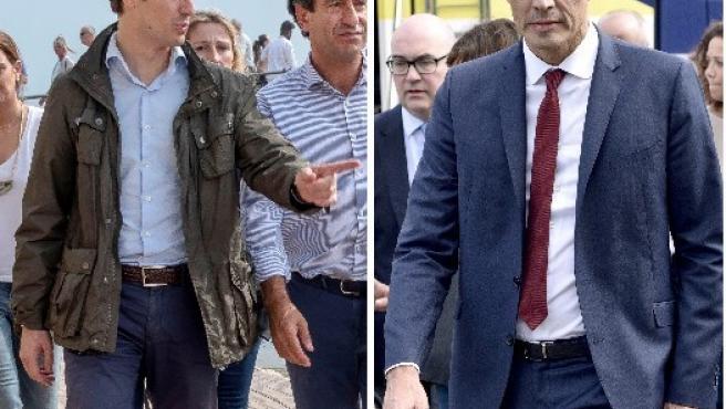Casado y Sánchez visitan las zonas afectadas por al riada en Mallorca.