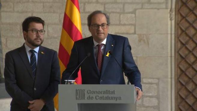 Torra y y el vicepresidente de la Generalitat, Pere Aragonès, de ERC.