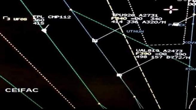 Objetos voladores no identificados en el cielo del norte de Chile, en una imagen del Comité de Fenómenos Aéreos Anómalos (CEFAA).