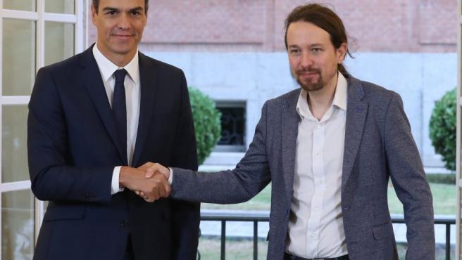 Pedro Sánchez y Pablo Iglesias, en el palacio de la Moncloa .