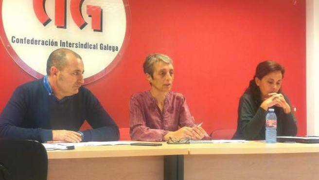Representantes de CIG-Banca en rueda de prensa.