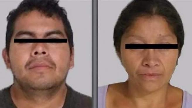 Los esposos Juan Carlos N. y Patricia N., detenidos bajo la acusación de haber asesinado a al menos a 10 mujeres en el municipio de Ecatepec, en México.