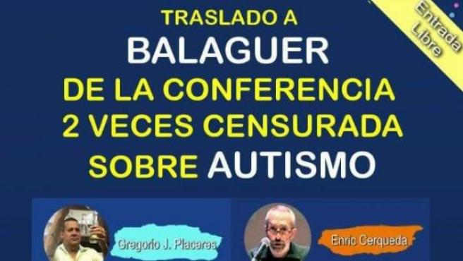 Cartel sobre una conferencia de pseudociencia sobre el autismo.