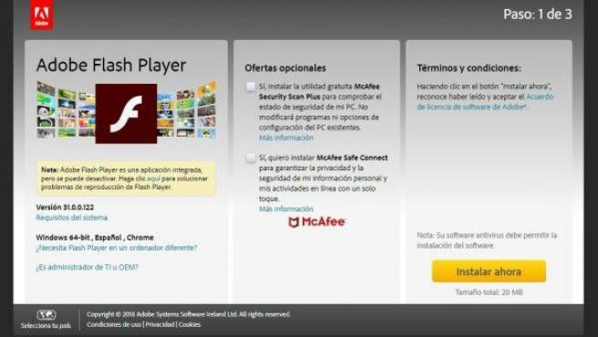 Página web de instalación de Adobe Flash Player.