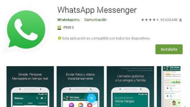 Imagen de descarga de la aplicación WhatsApp en Google Play.
