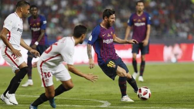 Leo Messi, en el encuentro entre Barcelona y Sevilla de la Supercopa de España.