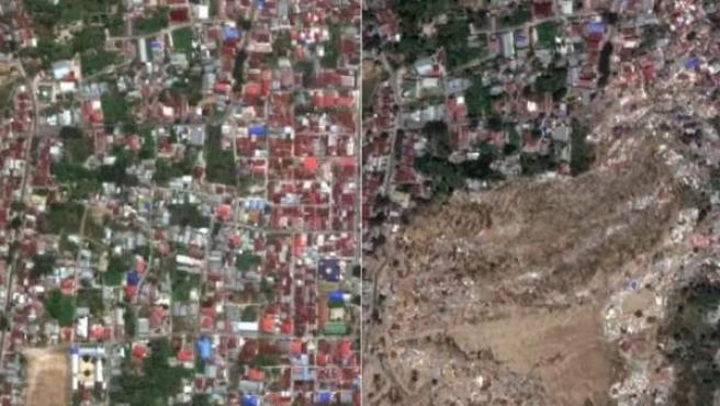 Palu, Indonesia, antes y después del terremoto y el tsunami.