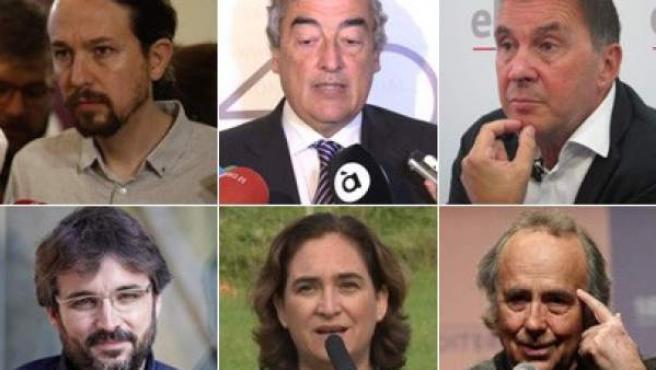 Pablo Iglesias, Juan Rosell, Arnaldo Otegi, Jordi Évole, Ada Colau y Joan Manuel Serrat.