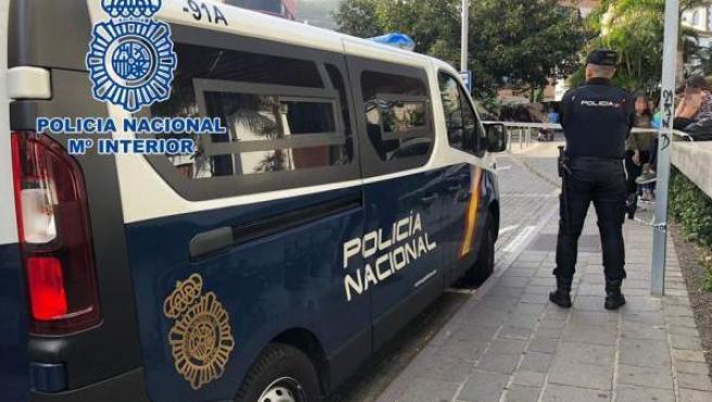 Imagen de archivo de una furgoneta de la Policía Nacional y un agente.