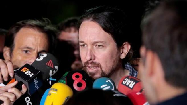 Pablo Iglesias a su salida de la prisión de Lledoners después de reunirse con Oriol Junqueras.