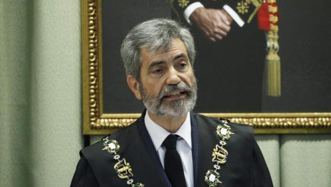 El presidente del Tribunal Supremo, Carlos Lesmes, en la apertura del año judicial militar.