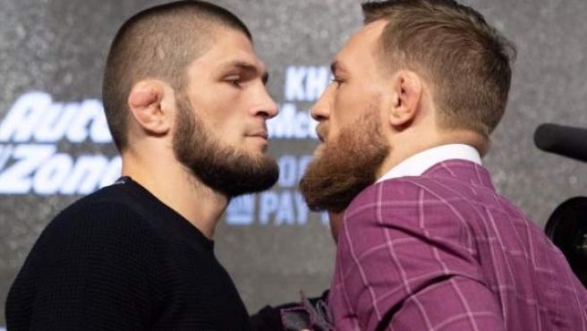 Los luchadores de UFC Khabib Nurmagodemov y Conor McGregor, cara a cara.