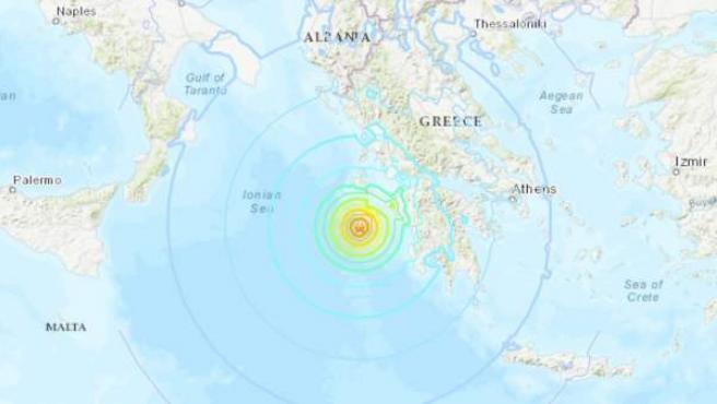 Mapa del Servicio Geológico de Estados Unidos, con el picentro del terremoto registrado en Grecia, al suroeste de la isla griega de Zante.