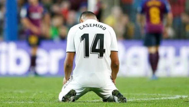 Casemiro, derrotado en el Clásico entre FC Barcelona y Real Madrid.